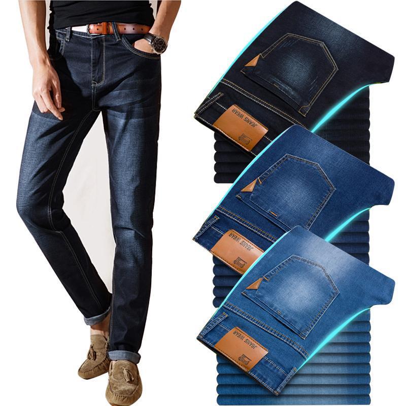 Yaz klasik tarzı erkekler marka kot iş rahat streç ince kot pantolon açık mavi siyah pantolon erkek erkek