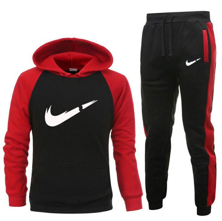Uomini Casual Sportswear TuteSts Gyms Felpa + Sweatspants Fashion Brand Maschio Due pezzi Set Plus Size S-XXXL