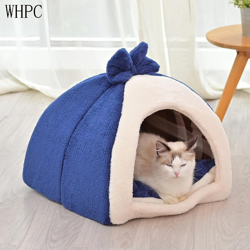 Cat Beds & Furniture WHPC Removable Bed Self Warming For Indoor Cats Foldable House Small Dog Puppy Products Pets Wholesale