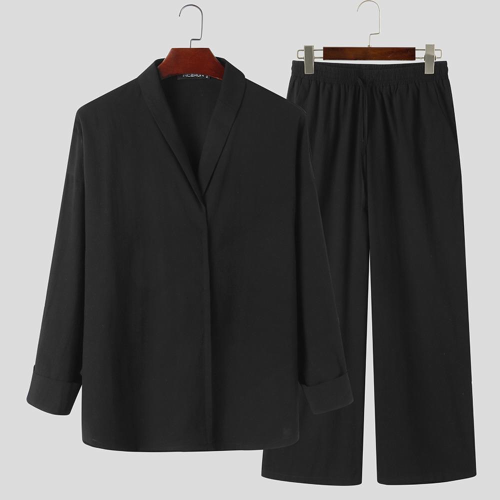 Vintage Männer Sets 2021 Massive Revers Langarm Lässige Hemden Streetwear Taschen Kordelzug Hosen Chic Herren Anzüge 2 Stücke Inverun x0601