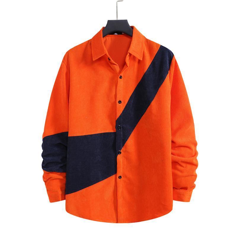 S-XXL 크고 키 큰 크기 남성 캐주얼 셔츠 봄 긴 소매 코듀로이 셔츠 빈티지 streetwear 탑스 컬러 블록 의류 남성