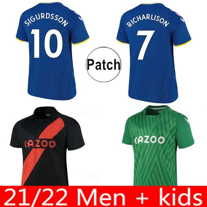 22 22 에버 튼 팬 버전 축구 유니폼 James Richarlison Calvert-Lewin Sigurdsson 축구 셔츠 2021 2022 남성 키트 Digne Coleman 홈 멀리 유니폼