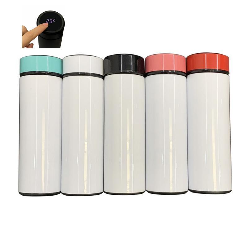 17 унций пустой сублимационный тумблер температура дисплей воды бутылка воды 500 мл вакуумный DIY теплопередача печать чашки WWQ