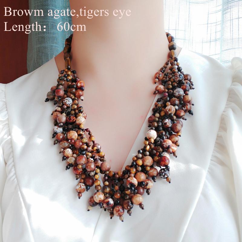 Lii ji echte steine halskette tiger auge agate pearl aussage frauen schmuck geschenkshemd