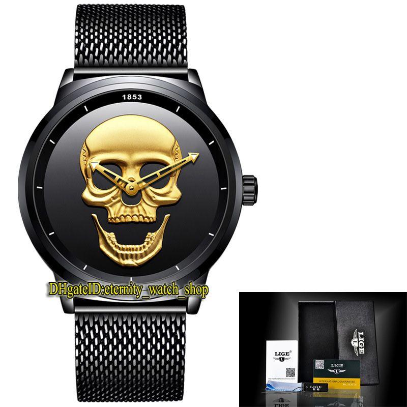 Lige Eternity LG9876 SPORT Relojes para hombre Mensaje de esqueleto de oro Movimiento de cuarzo Reloj Reloj Caja de acero Forma de cuadrícula de acero Correa