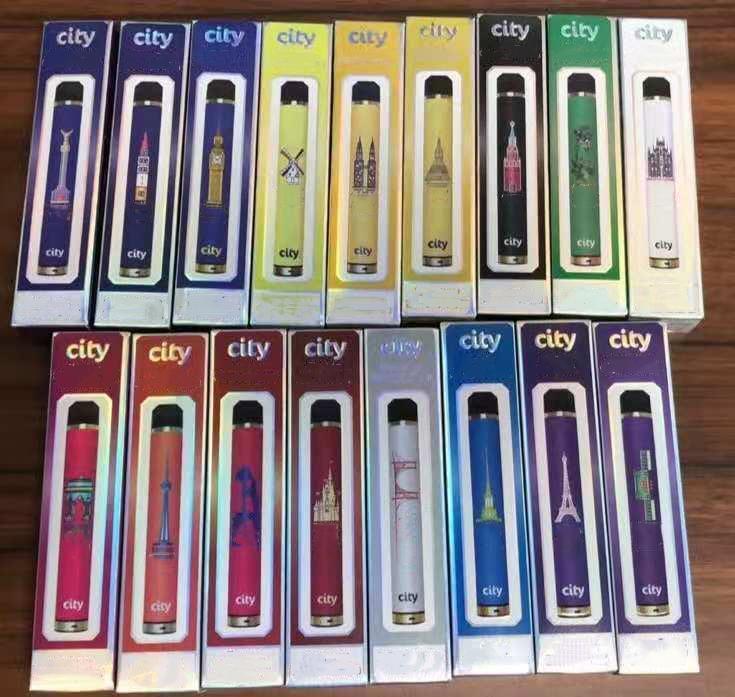 1600Установок воздушный поток одноразовые сигареты городского северного устройства стартовый комплект 1200 мАч батарея 5.5 мл предварительно заполненный испаритель 17 цветов