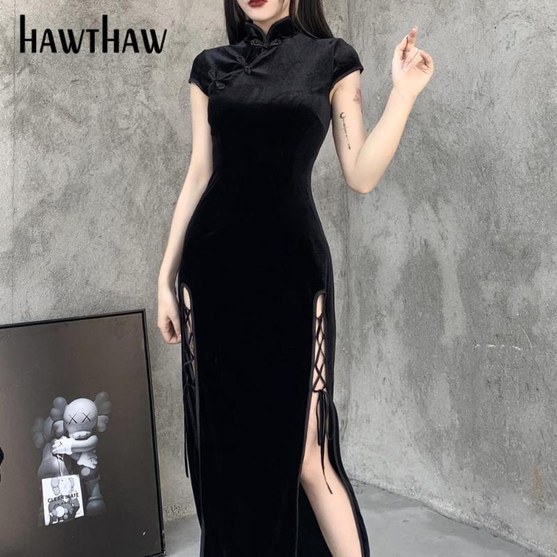 호혼 여성 레트로 가을 겨울 긴 소매 bodycon 벨벳 오픈 포크 분할 검은 qipao 중국 드레스 2021 가을 의류 캐주얼 드레스