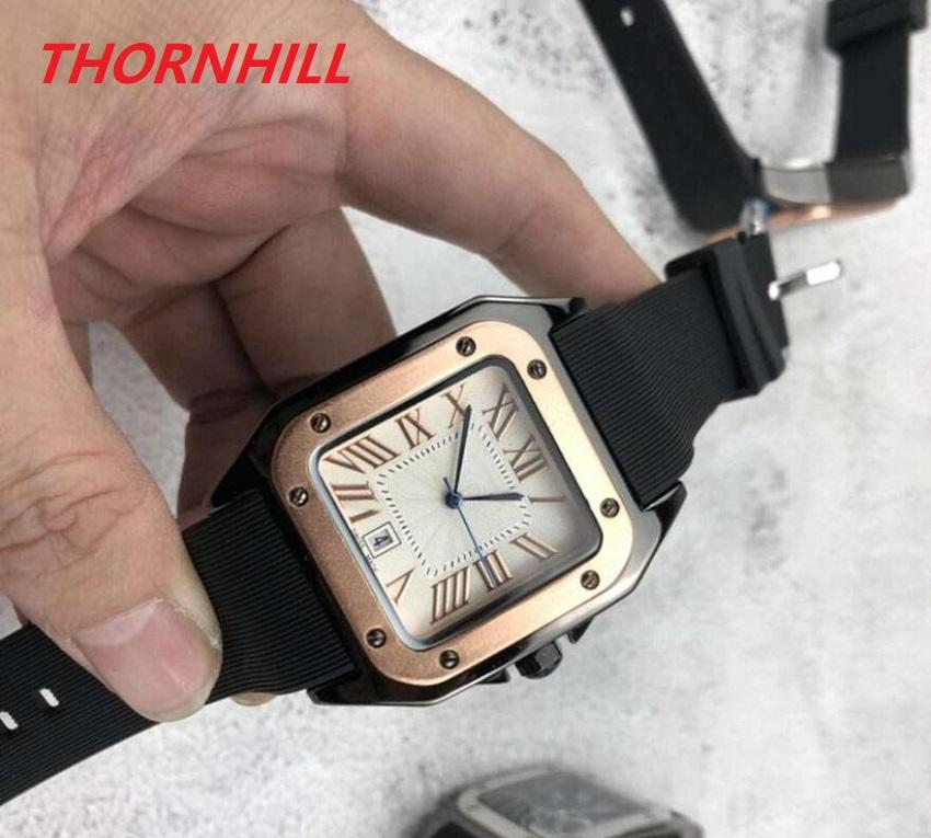 Lovers Couples lady clock montre de luxe Automatic Date Silicone Watch Luxury Fashion Men Women square dial designer Quartz movement watches