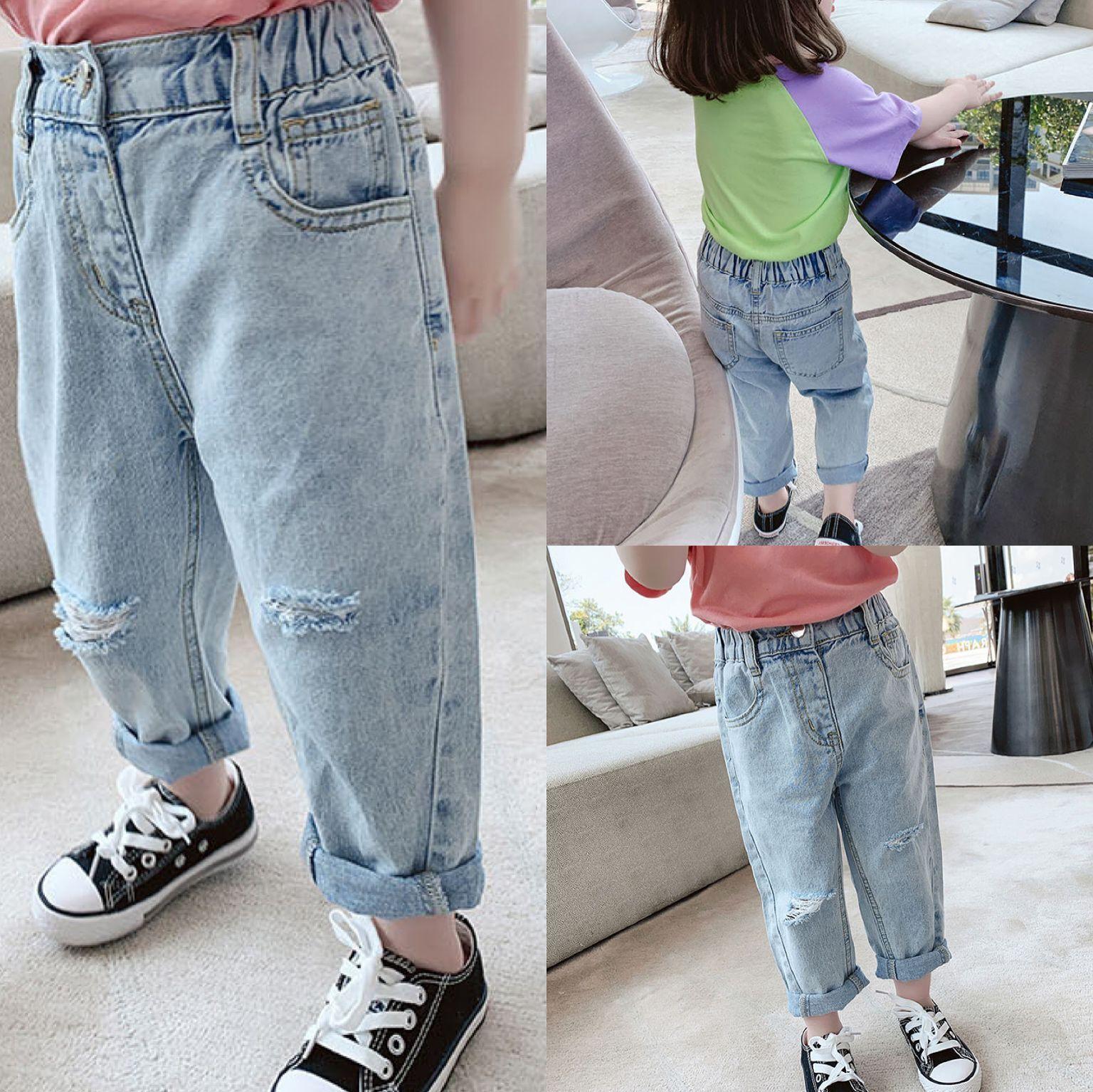 TG Korean INS Spring Summer Kids Girls Jeans Trousers Quality Elastic Waist Autumn Children Hole Pants