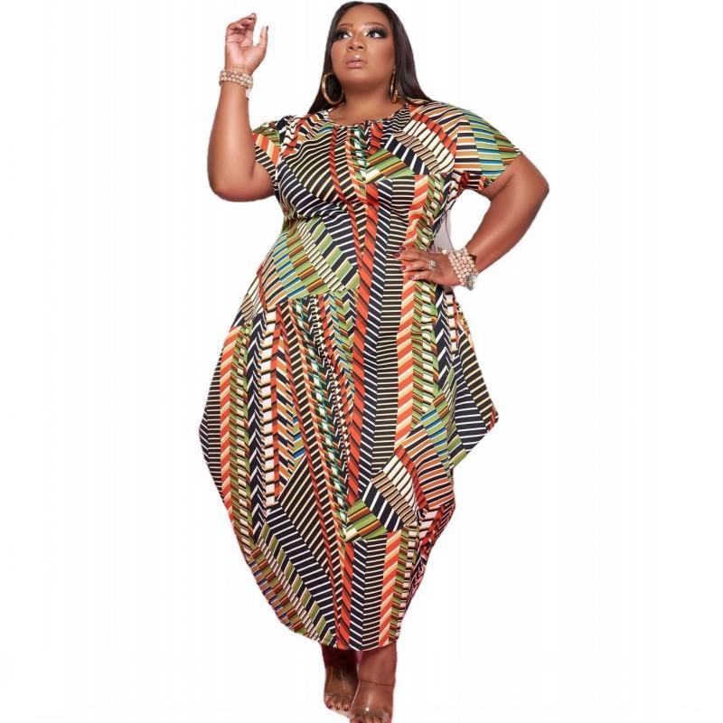 Vestidos africanos para mujeres 5xl Talla grande Manga corta Vestido irregular Moda Dashiki Impresión elegante África Ropa Vestido Vestidos