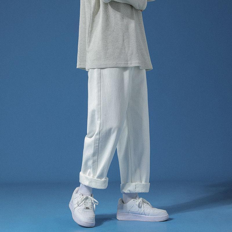 Мужские джинсы Корейская Широкая нога Мода Повседневная Синяя Белая Мужская Уличная Одежда Свободные Хип-хоп Прямо-нога Джинсовые Брюки Мужские S-2XL