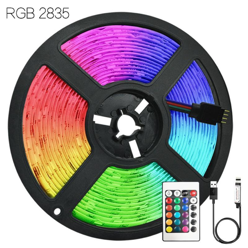 Strip Lights USB Infrared Control DC 5V RGB 2835 Flexible Lamp Tape Diode Desk TV Screen Decoration Iuces For Festival 1M-5M LED Strips
