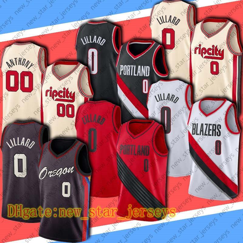 """Damian 0 Lillard Basketball Jersey Carmelo 00 Anthony Shirts Portland """"Trilha Blazers"""" Jersey City """"Edição"""" Jersey"""