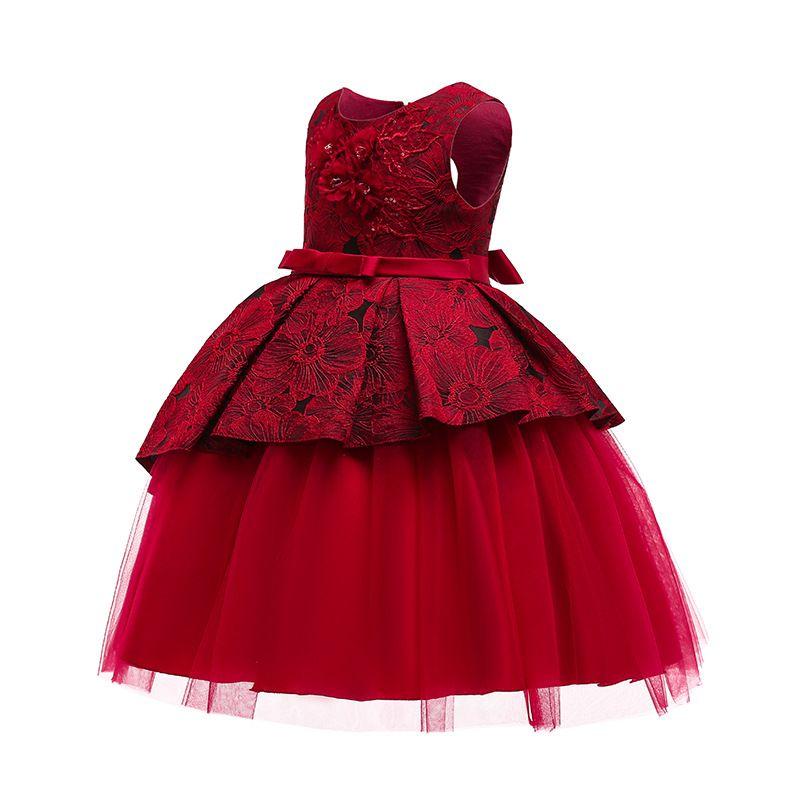 التطريز اللباس عيد الميلاد كرنفال حلي للأطفال حزب التطريز الأميرة طفل الفتيات ملابس 7 8 9 10 سنة