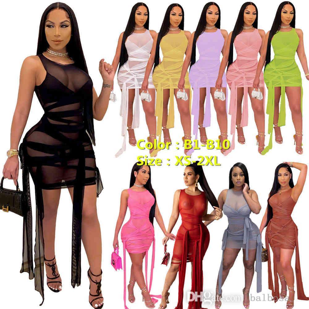 여자 드레스 메쉬 원근법 붕대 민소매 섹시 파티 드레스 엘가 트 여름 Bodycon 클럽웨어