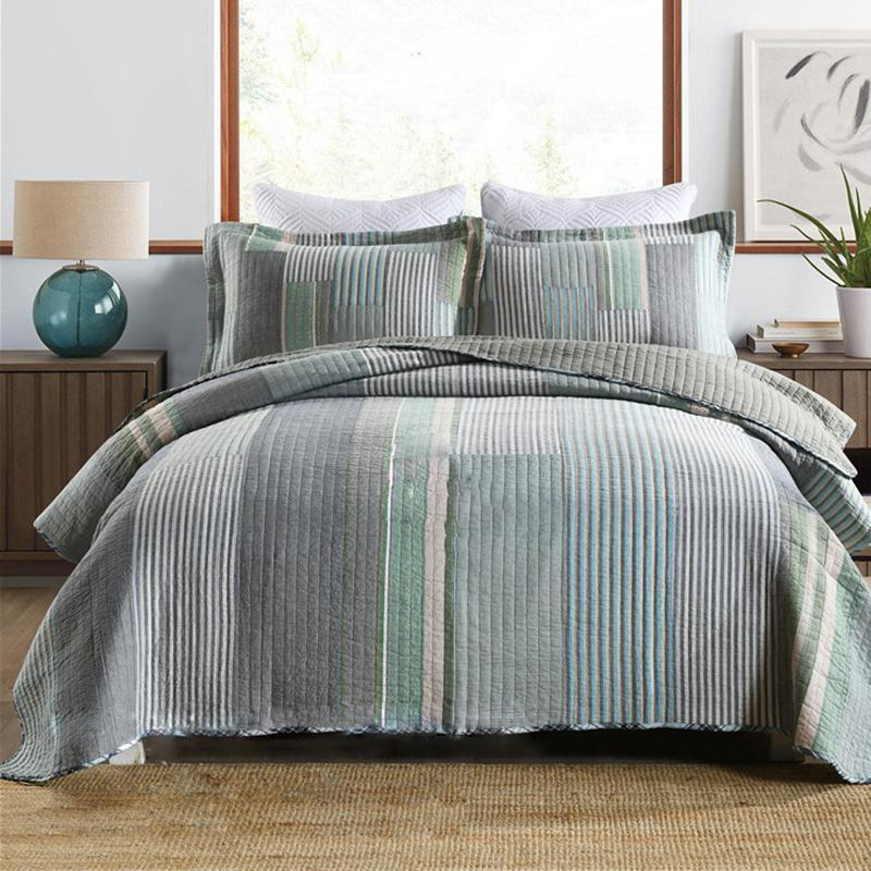 Quality Cotton Quilt Set 3pcs Bedspreads For Bed Soft Fabric Quilted Cover Pillowcase Queen Size Stripe Blanket All Season Comforters & Sets