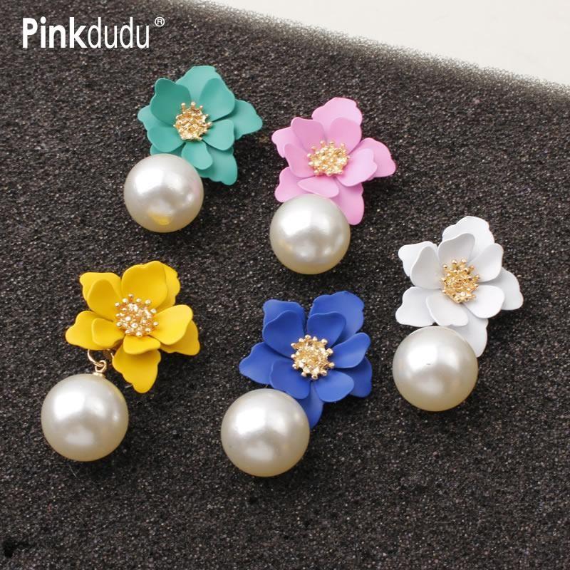Pinkdudu Korean Ins 7 colori Flower Womens Painting Orecchini Perle Lega Stud Elegante gioielli moda OG071