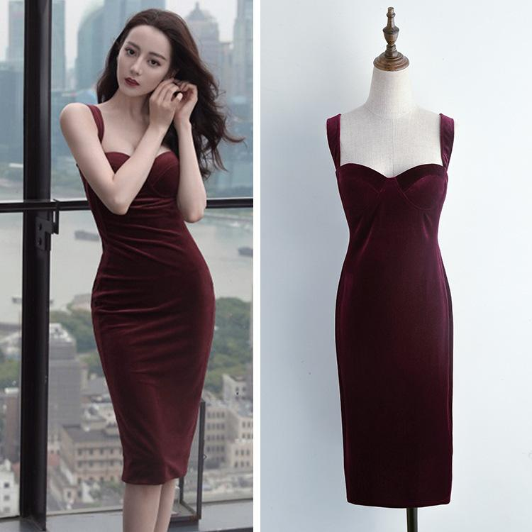 Vestido Rojo Vino Con Tirantes, Cintura de Terciopelo, Otoo, 2020