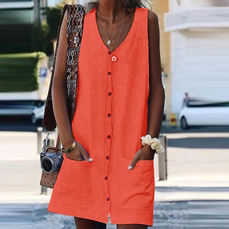 Vintage Orange Sleeveless Weste Sommerkleid Frauen Sommer Kleid 2021 Sexy Mini Button Taschen Solid Beach Weibliche Freizeitkleider