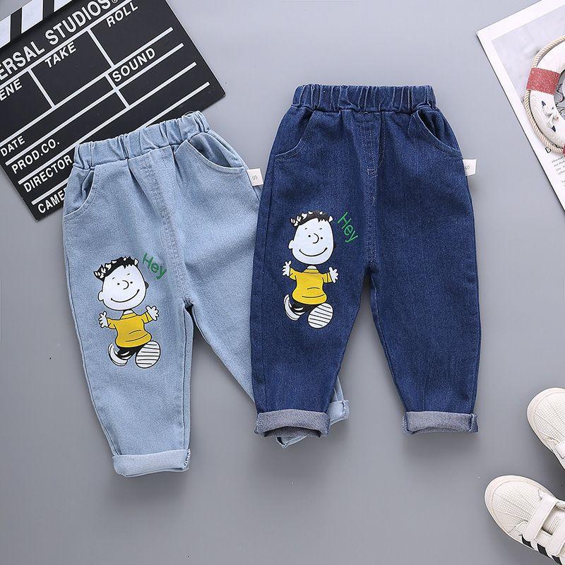 Jungen Jeans Frühling und Herbst Plüsch Neue Fremdstil Kinder Lässige Mode Hübsche Babyhose