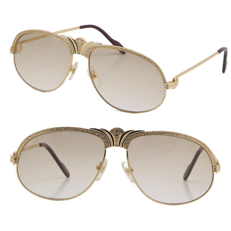 Toptan Satış Elmas Erkekler Metal Güneş Gözlüğü 18 K Altın Vintage Kadın Gözlük Unisex 1112613 Küçük Için Büyük Taşlar C Dekorasyon için Gözlük