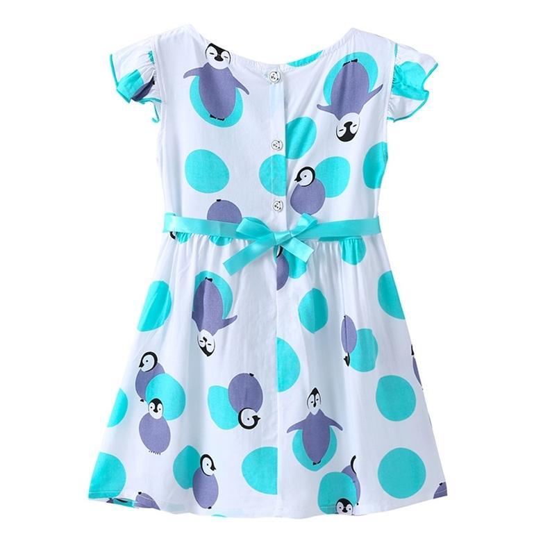 Girls Estate Dress Carino in cotone manica corta o collo stampa A-Line Vestidos 2-7T 210623