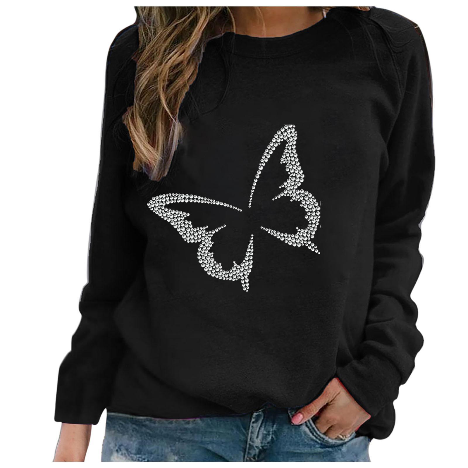 Blusa negra Mujeres de manga larga damas casuales O-cuello mariposa Rhinestone Tops camisa Bluzki Damskie X0521