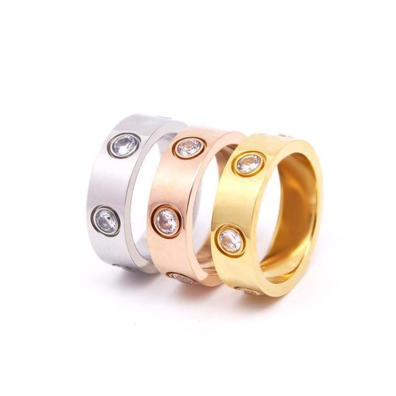 Designer para mulheres anel de homens zircônia noivado titânio aço alianças de casamento rosa moda jóias presentes mulher acessórios sem caixa