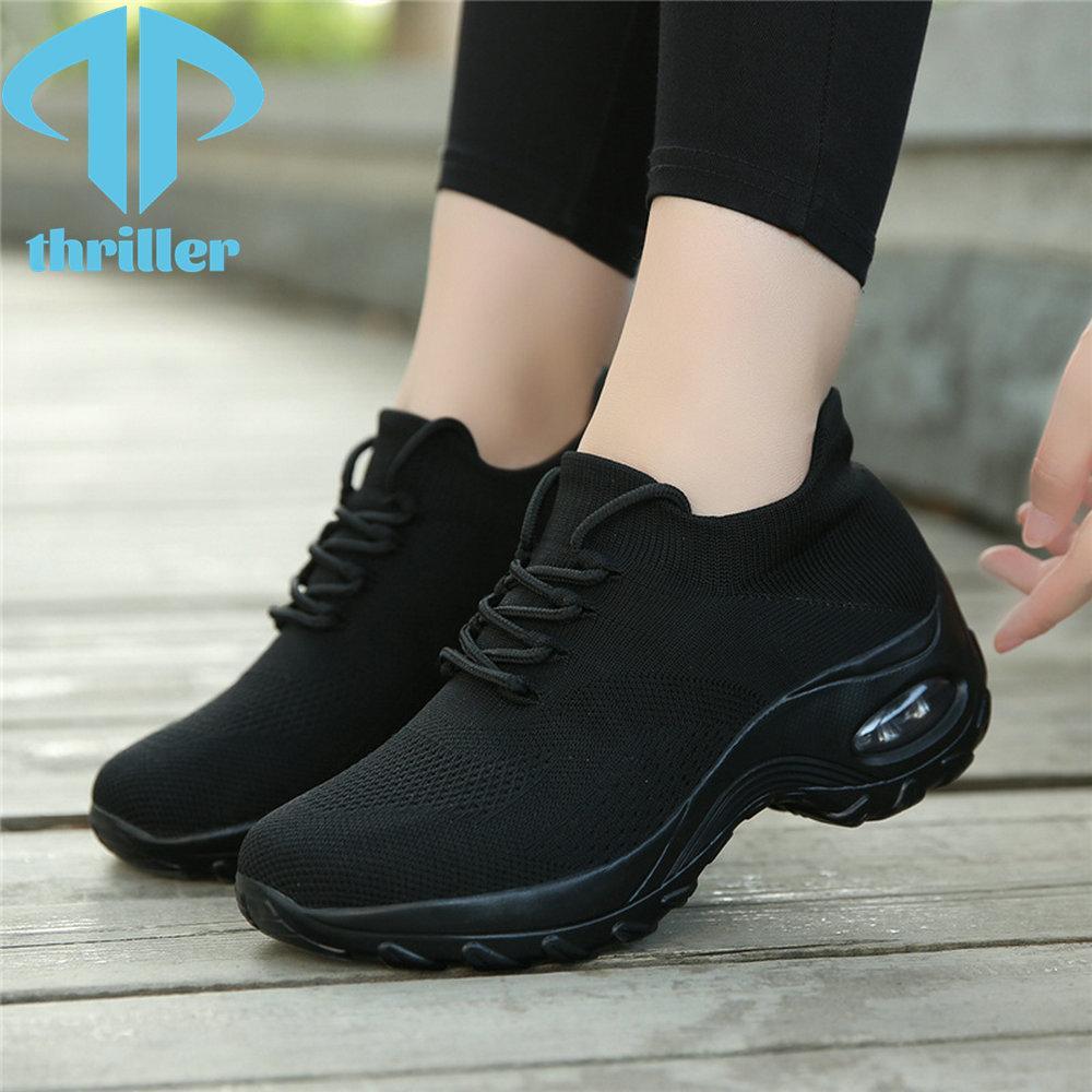 Thriller zapatillas de deporte zapatos casuales de las mujeres zapatos deportivos zapatos bailando suaves aumentos de malla cómoda transpirable liviano 7 colores