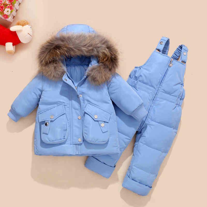 Зимние детские комплекты одежды снег куртки + комбинезон 2 шт. Набор малыш девочек утка вниз пальто малыш девушка зимняя одежда 201126