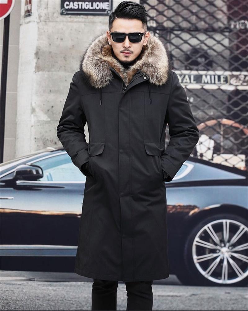 남성 FL9015A 남성 양모 블렌드를위한 모피 오버코 캣 너구리 라이너 겨울 긴 파카 코트 한 조각