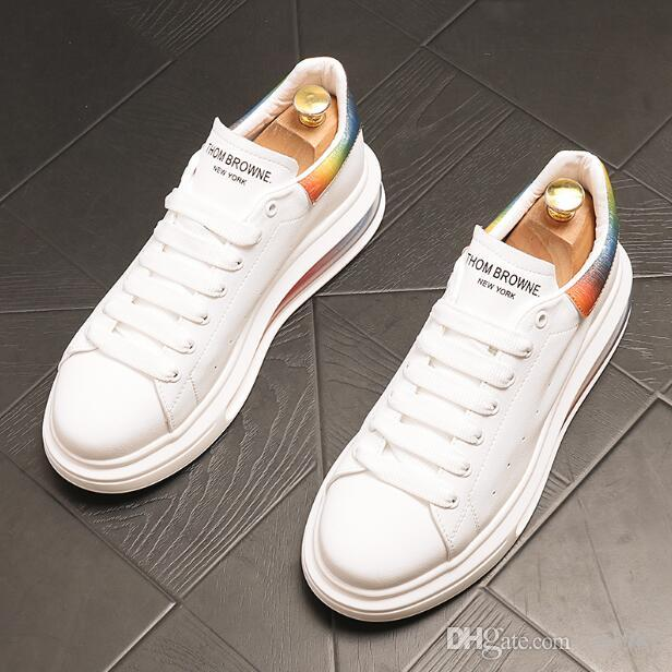 High-quality Men platform sneakers Top Designer increase Loafers flat heel Lace-Up Little white Casual Shoes round Toe plus size 38~44