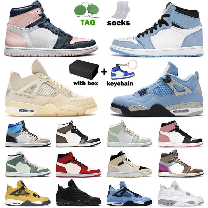 Air Jordan Jorden 1 Retro 4 Off White Sail travis scott Hommes Femmes Des Chaussures Jumpman OG Basketball Shoes Jordan1s Jordan4s Cactus Jack Baskets