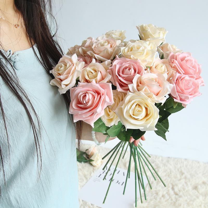 dia 7.5cm Charming Artificial Wedding Bouquets Spring Rose Flowers Floral Wedding Home Hotel Desk Decoration