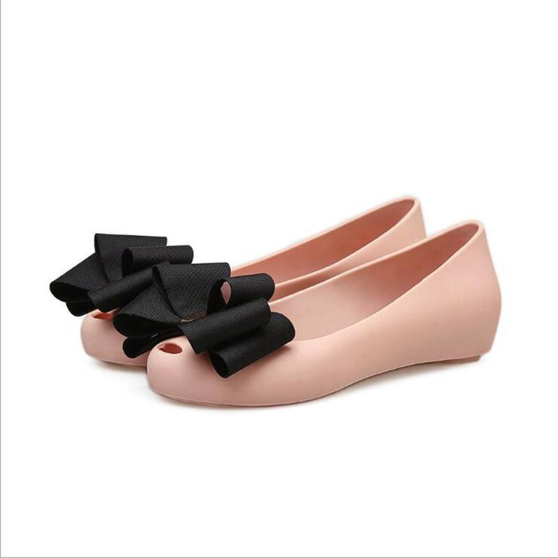 Sandals Summer 2021 Women's Shoes Bow Shallow Low Top Flat Heel Jelly Casual Holiday Peep Toe Beach Non-Slip Single