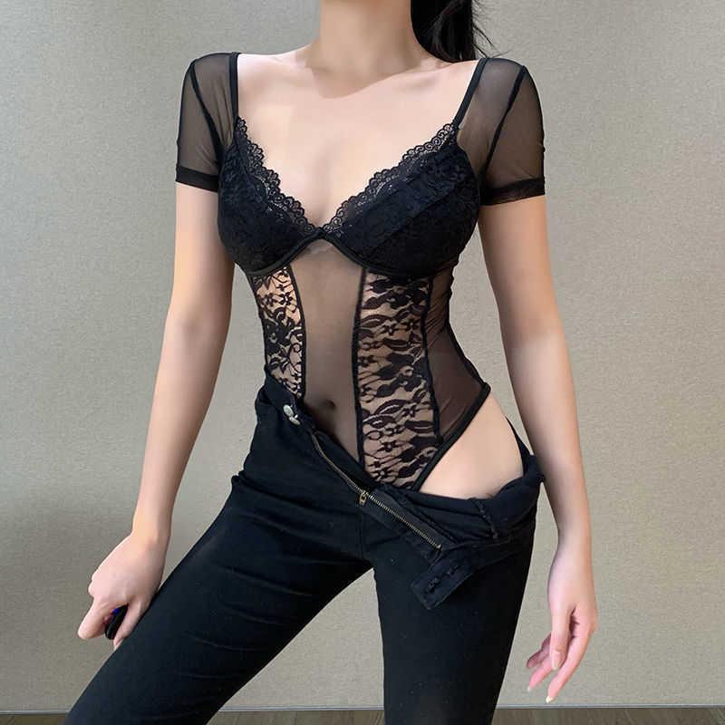 Laço apertado em v-pescoço em v peito revelando jumpsuit mulheres verão insignificante perspectiva de malha de manga curta camisa inferior 28534P