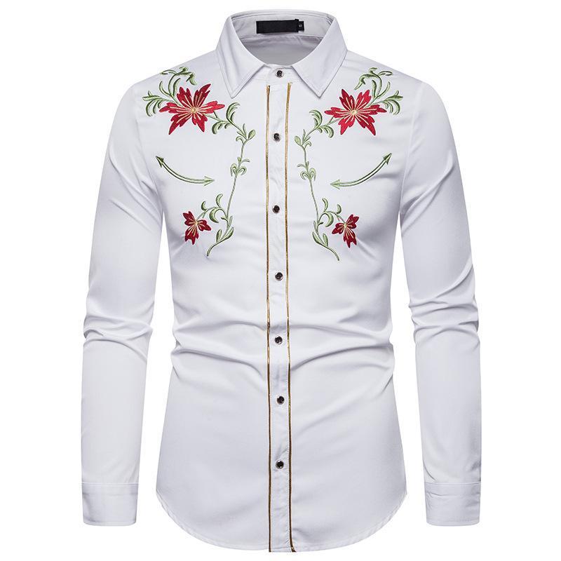 남성용 세련된 수 놓은 셔츠 서양식 꽃 긴 소매 캐주얼 셔츠