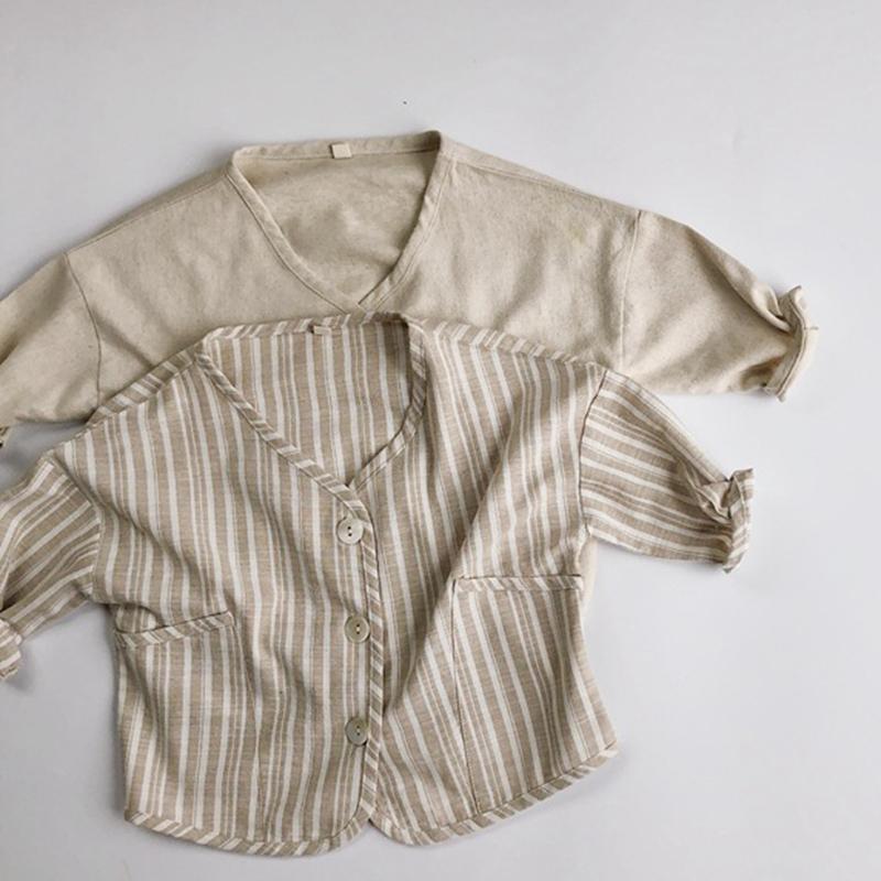 الخريف ملابس الأطفال طفل رضيع فتاة طويلة الأكمام الكتان القطن معطف الكورية اليابان نمط الاطفال سترة سترة