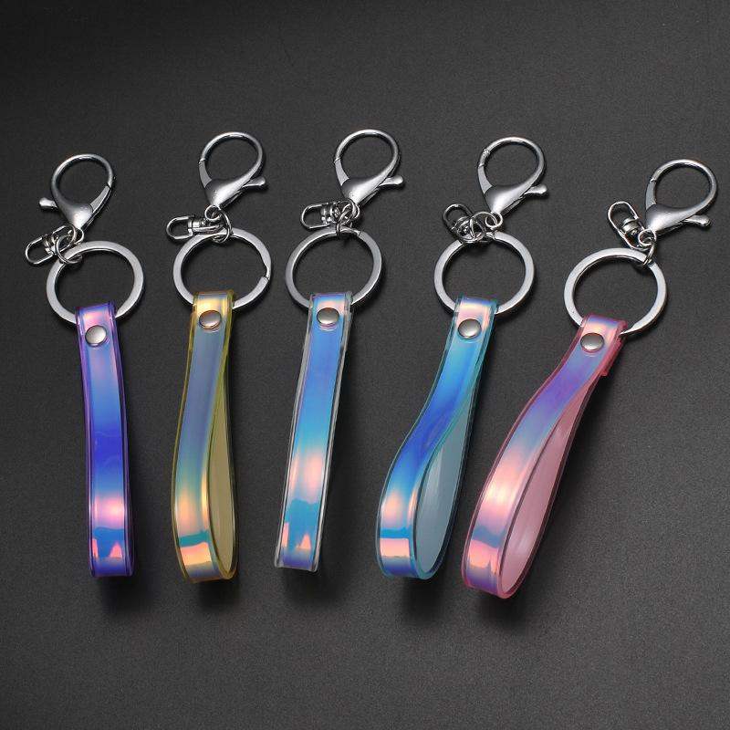 Yeni Stil Sihirli Renk Anahtarlık, Parlak Parlak Deri Kanca, PVC Yumuşak Kauçuk Halat, Araba Kolye, Yaratıcı Hediye