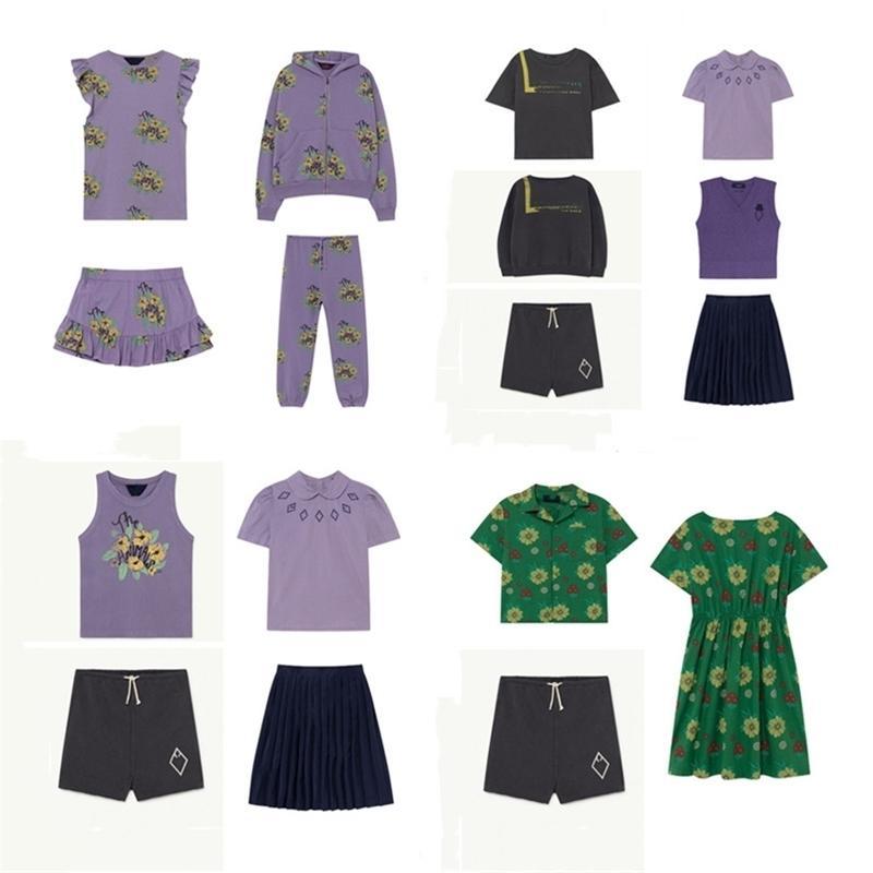 Tao Summer Lapel Top College Style Plissado Saia De Tricotado Vest Saia Terno Purple Blouse Saia Fato 210322