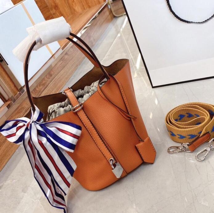 أعلى جودة النساء دلو حقائب حقائب الكتف عارضة حمل الحقيبة سلة الخضار الرباط بطانة مع وشاح الحرير
