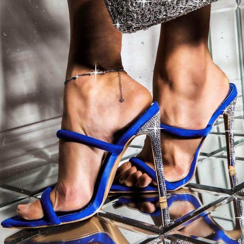 Zapatos de verano para mujer tacones de estilete zapatillas de cristal damas puntiagudas puntiagudas elegante ocio femenino fiesta bandada calzado