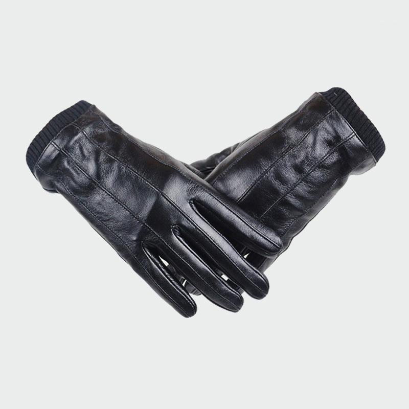 Mens Top Genuine Sheepskin Gloves Winter Outdoor Plus Velvet Warm Men Gloves Touch Screen Elastic Wrist Driving Riding ML0121