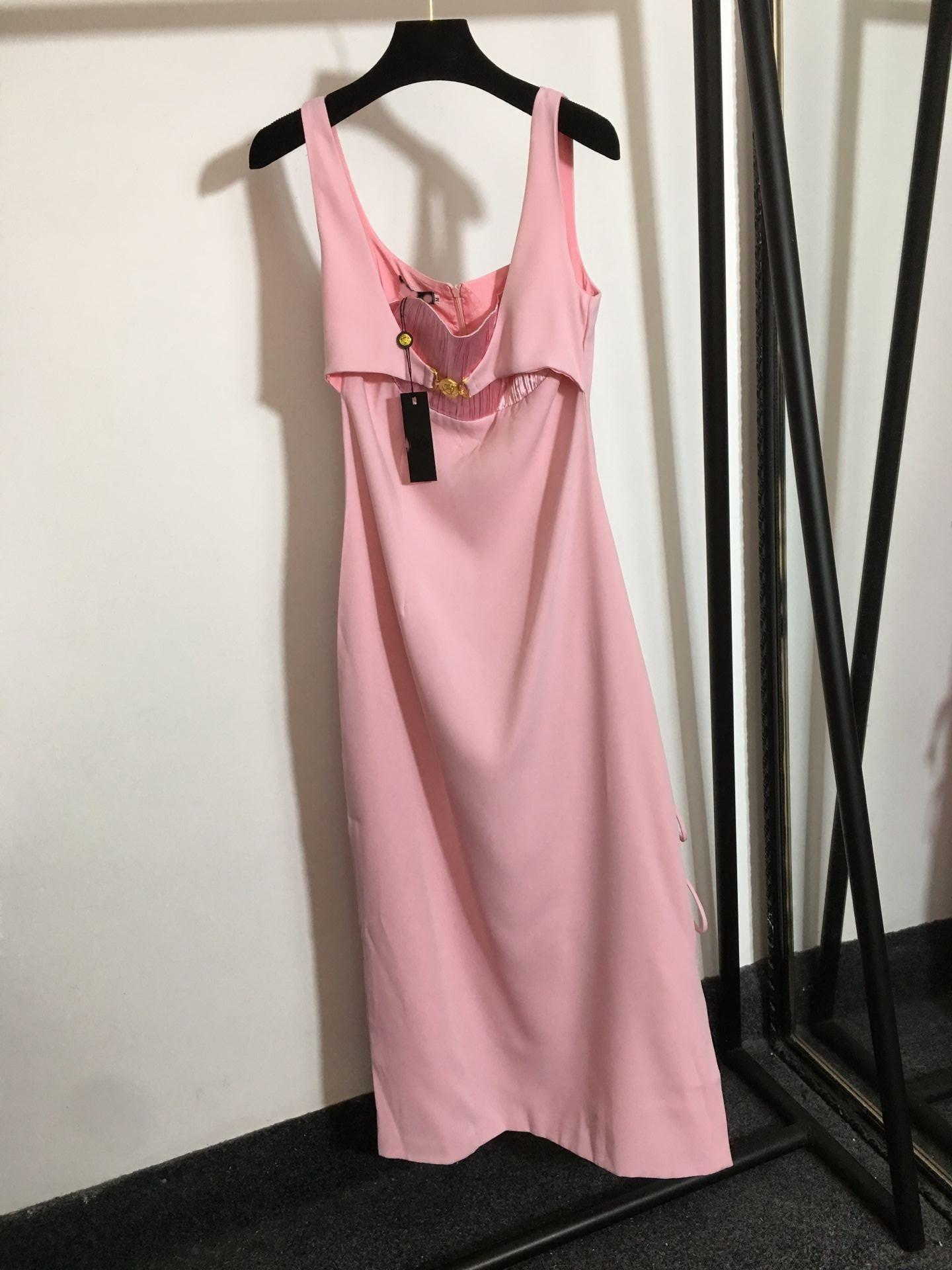 Milan pist elbiseler 2021 sonbahar yaz spagetti kayışı kadın tasarımcı elbise markası aynı stil giyim 0715-2