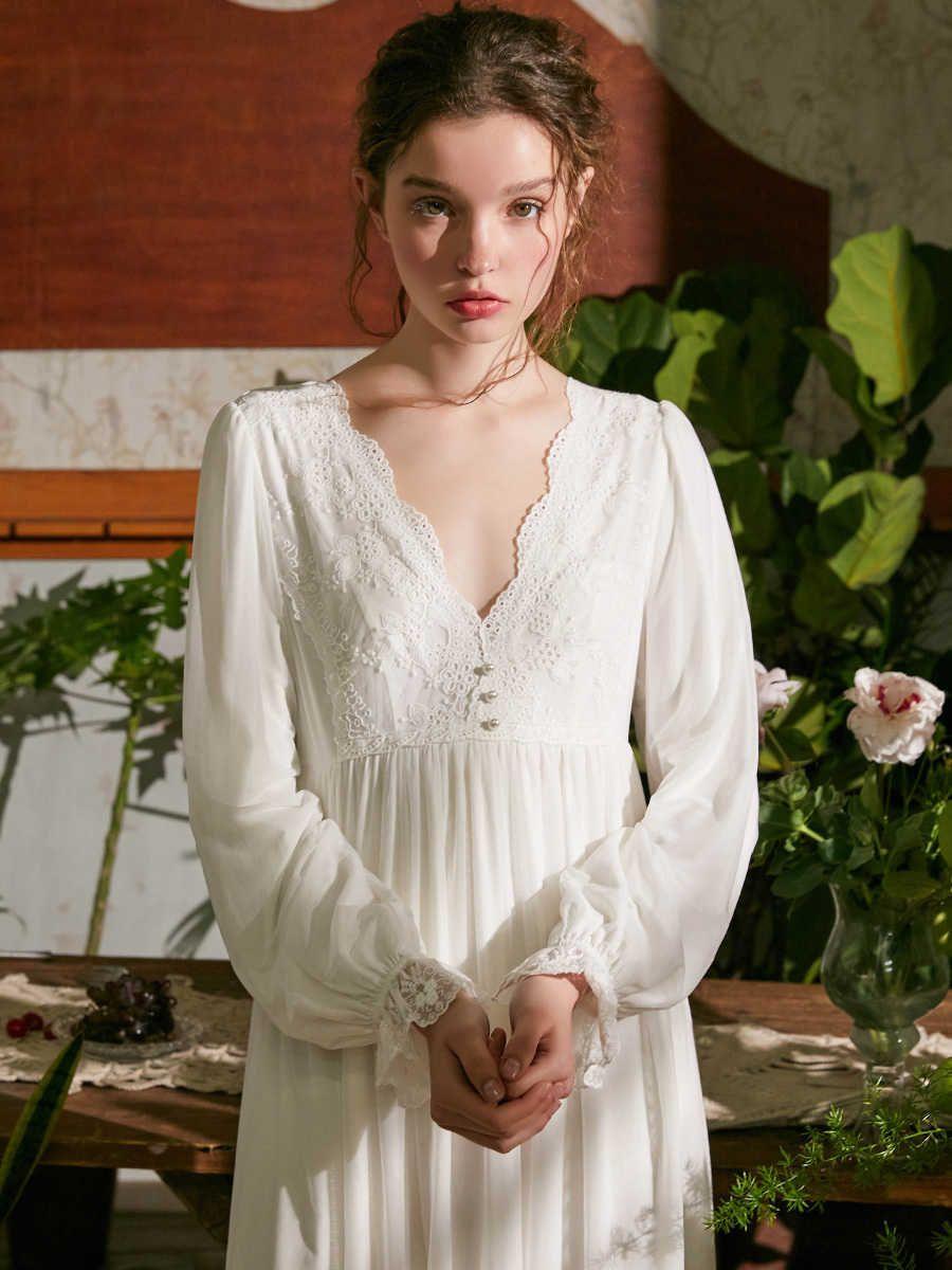 Sleepwear donna notte donna autunno camicia da notte bianco rosa dascino per il tempo libero moda lungo vintage vestito domestico donna da notte da notte Vneck Y200425