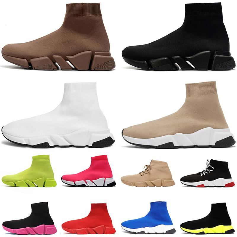 2021 Balenciaga النساء الرجال الفاخرة المصممين جورب الأحذية المسطحة لوحة الشكل عارضة حذاء ثلاثي أسود أبيض خمر أحذية رياضية الجوارب الأحذية مصمم منصة المدربين