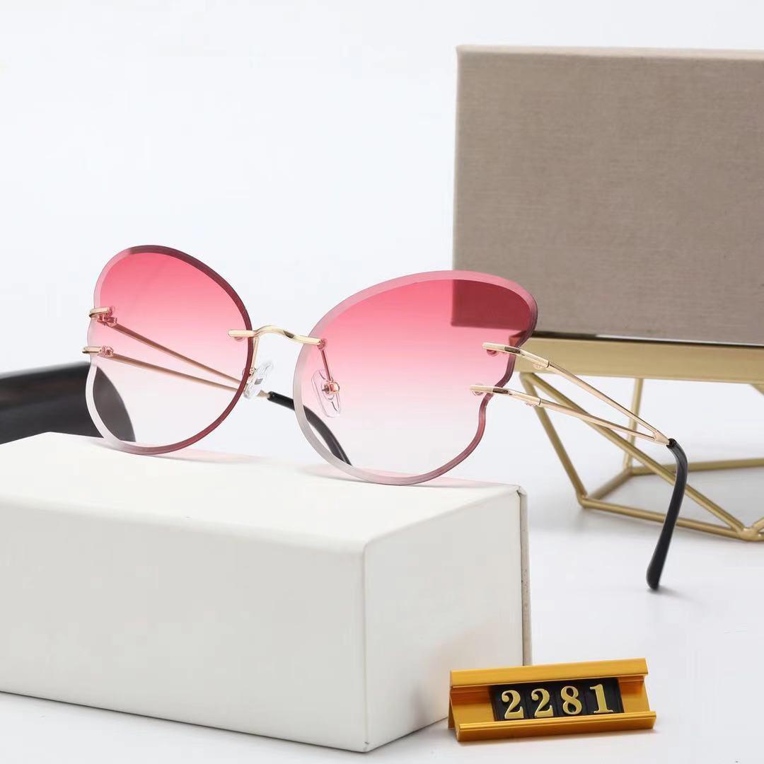 2021 Lunettes de soleil à la mode Style en forme de papillon Polarisée Lunettes anti-réfléchissantes haut de gamme haut de gamme haut de gamme Framedeless Face-Lift Lifge unisexe