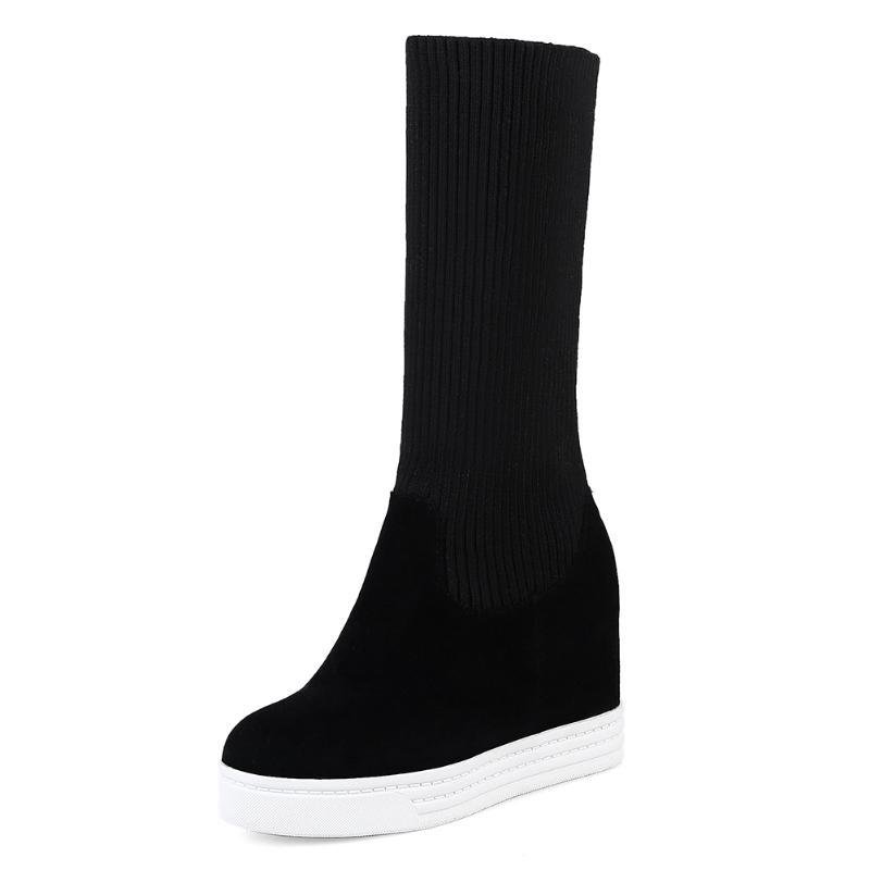 Boots Winter 34-44 Height Increasing Ankle Women 2021 Platform Stretch Booties Ladies High Heels Shoes Woman