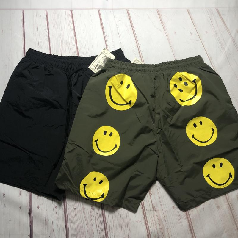 20SS Summer New Hirata y Hiro Smiley Face Print Men's High's High Street Nylon Elastic Casual Shorts Casual