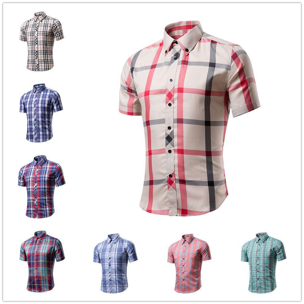 Camisa dos homens da xadrez britânica da manga curta do verão